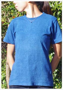 ヘンプコットン藍染め無地Tシャツ