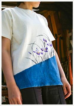 ヘンプコットン手描きTシャツ 藍にあやめ