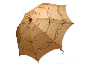 麻の日傘 玉渋染め縄模様