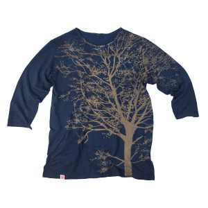 オーガニックコットン7分袖(7分丈)Tシャツ 藍渋染め 樹