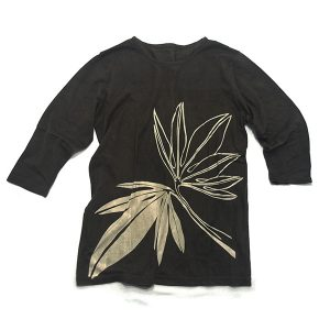 オーガニックコットン7分袖(7分丈)Tシャツ 鉄に葉
